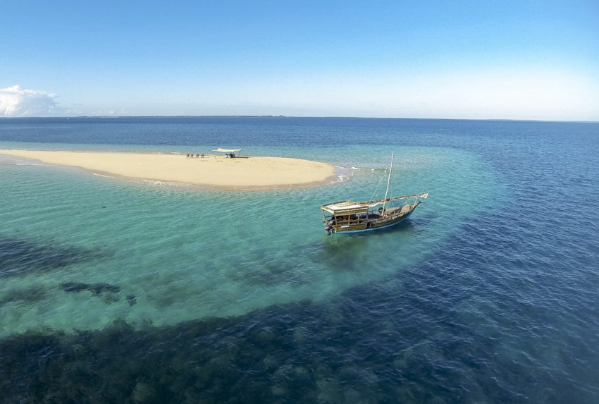 Ibo Island lodge Aerial of a Dhow on a Sandbank, Mozambique