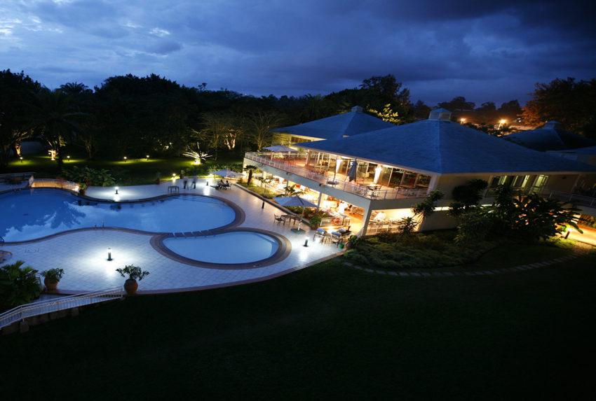 Pool by night, Lake Kivu Serena Hotel, Rwanda