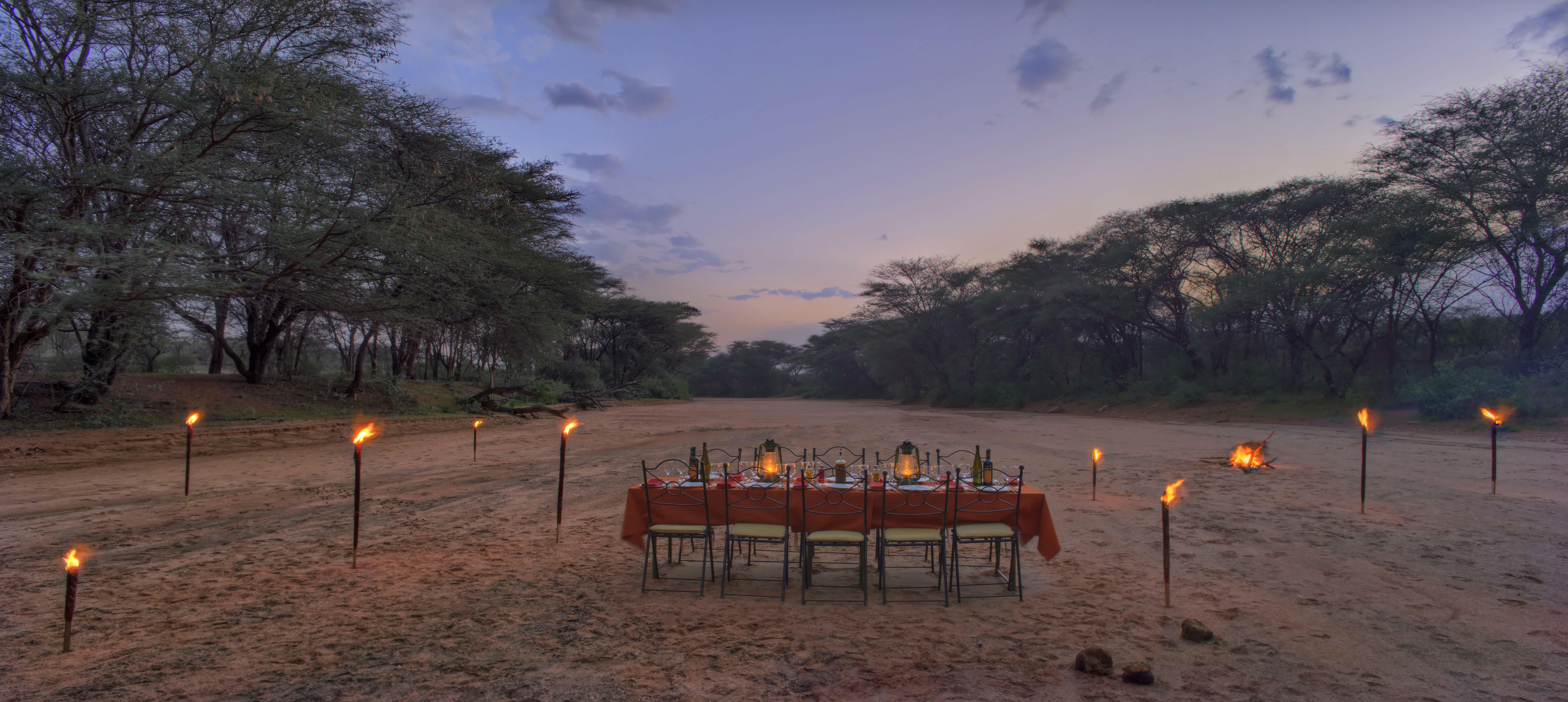 Saruni Samburu Kenya Bush dinner at dusk
