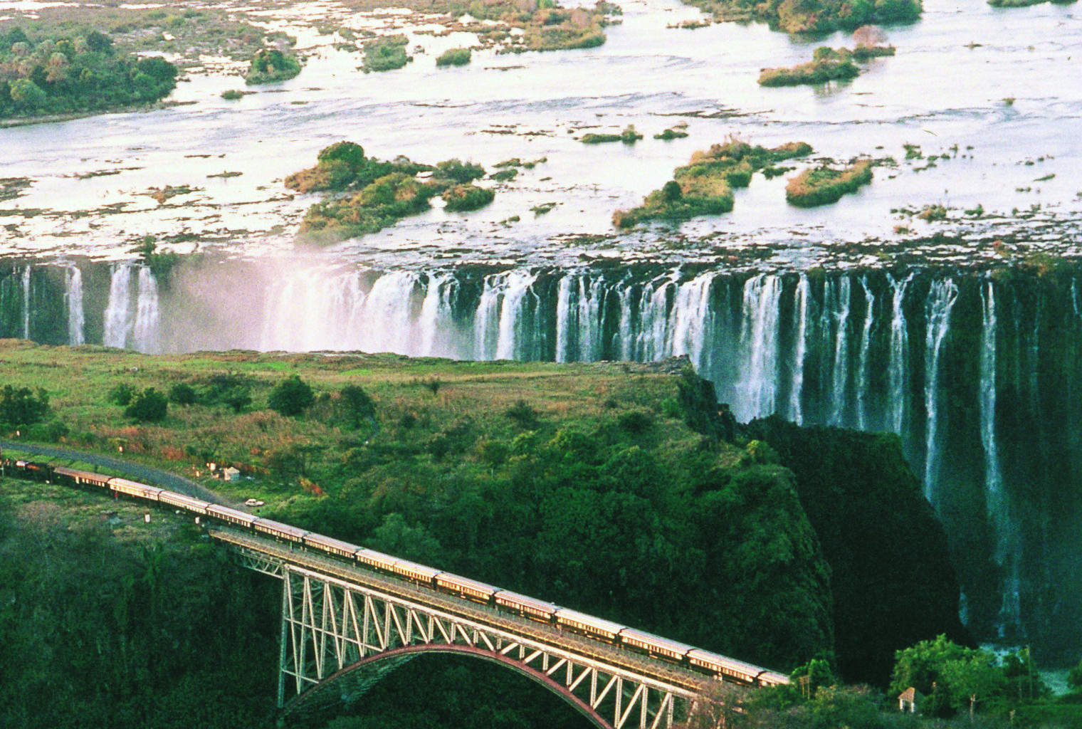 South Africa, Rovos Rail, Aerial Shot, Waterfall
