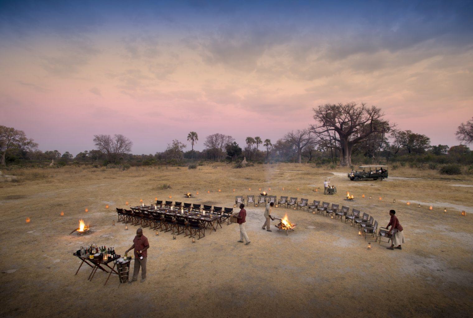 Sandibe, Okavango, Botswana, Chairs and Fire Outside