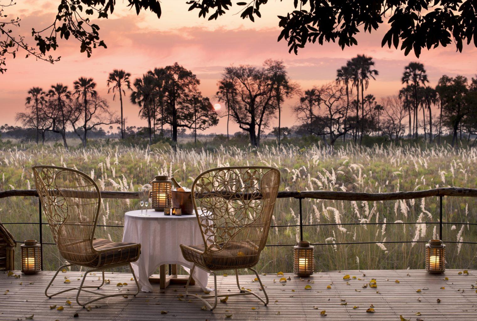 Deck view, Sandibe, Okavango Delta, Botswana Sunset