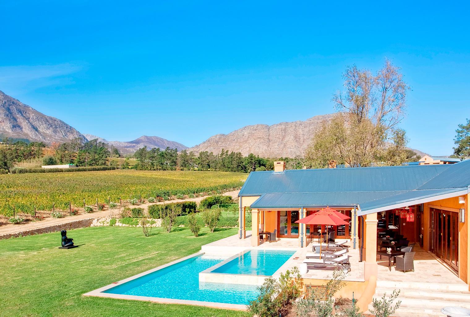 South-Africa, Winelands, La Residence Terrace with Elevated View