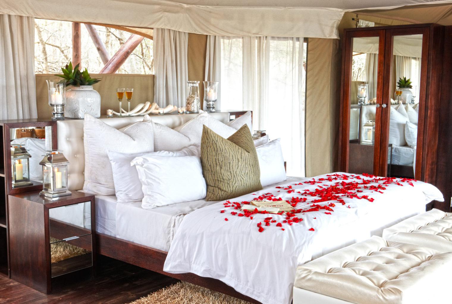 Thanda Tented Camp - honeymoon tent romantic turndown