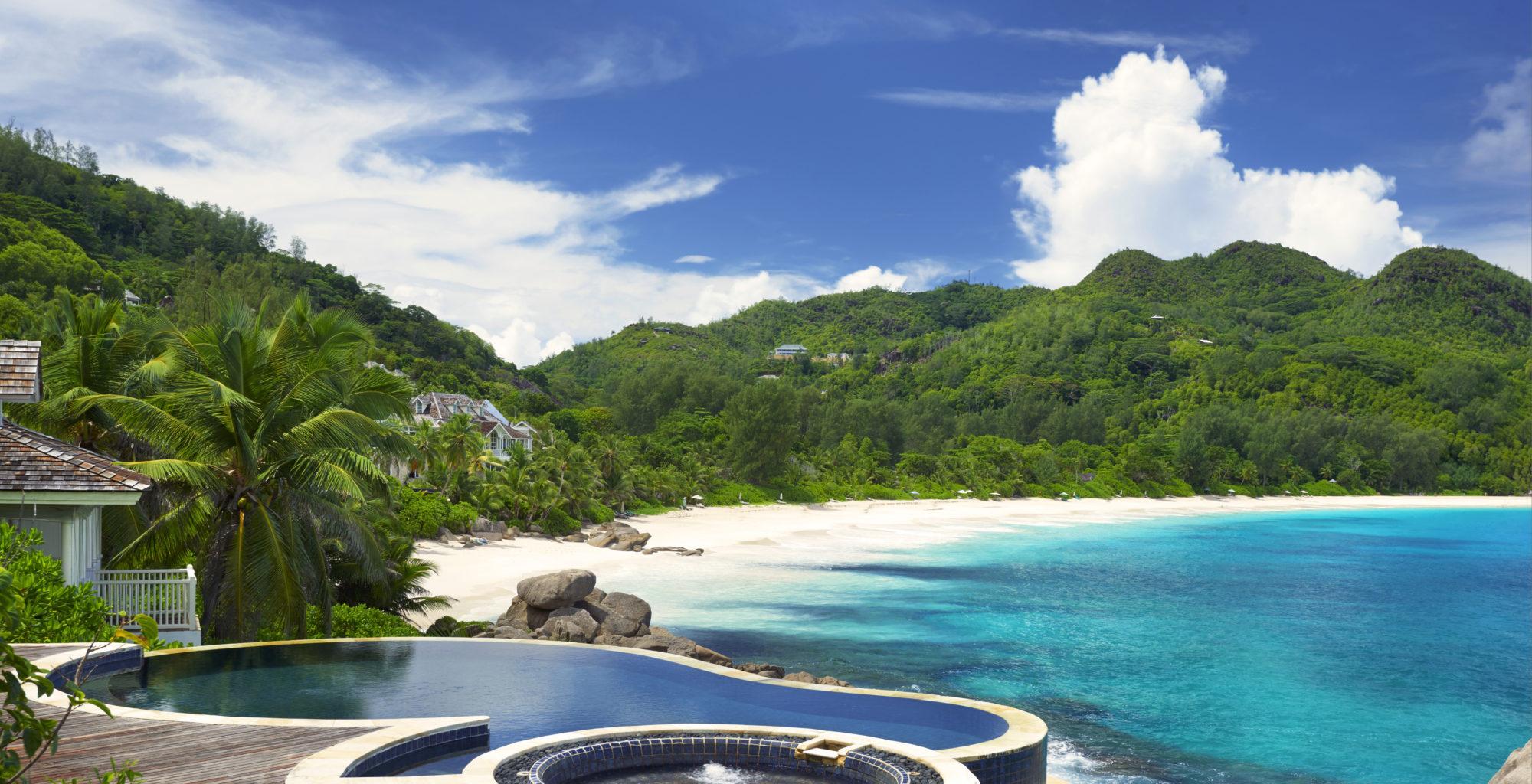 Banyan Tree Hotel Seychelles Pool Aerial