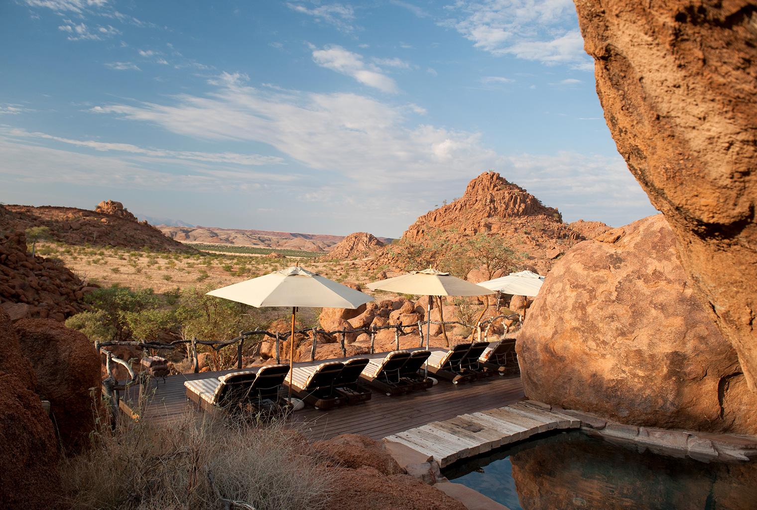 Mowani Mountain Camp, Namibia, Deck View Pool