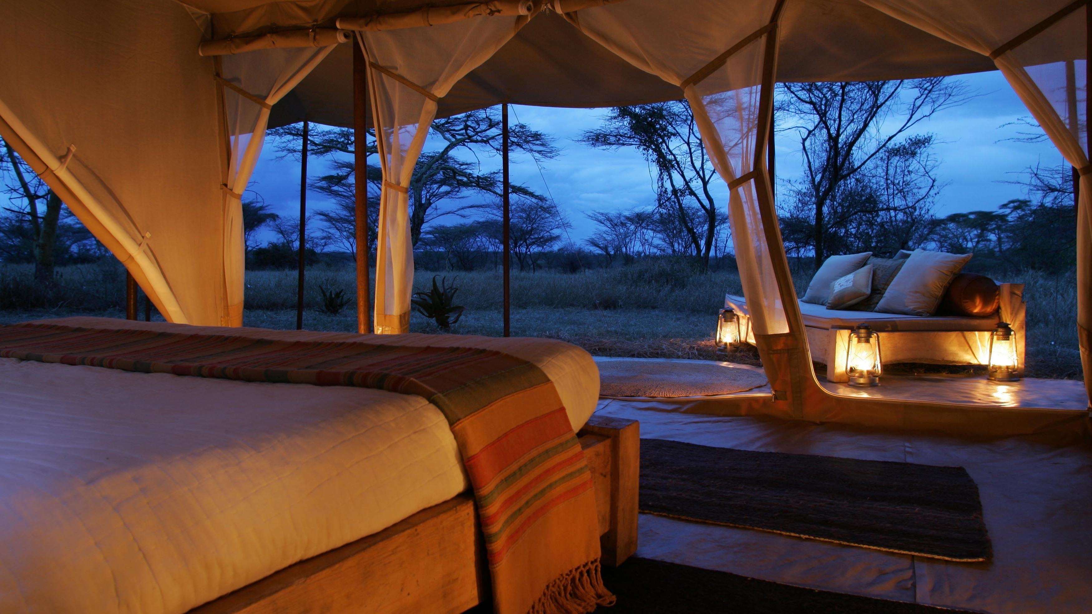Little Naibor Is Even Better. A Pair Of Two Bed Roomed (double And Twin)  Tents Share A Huge Private Living Space, Complete With Loungers, Tables, ...