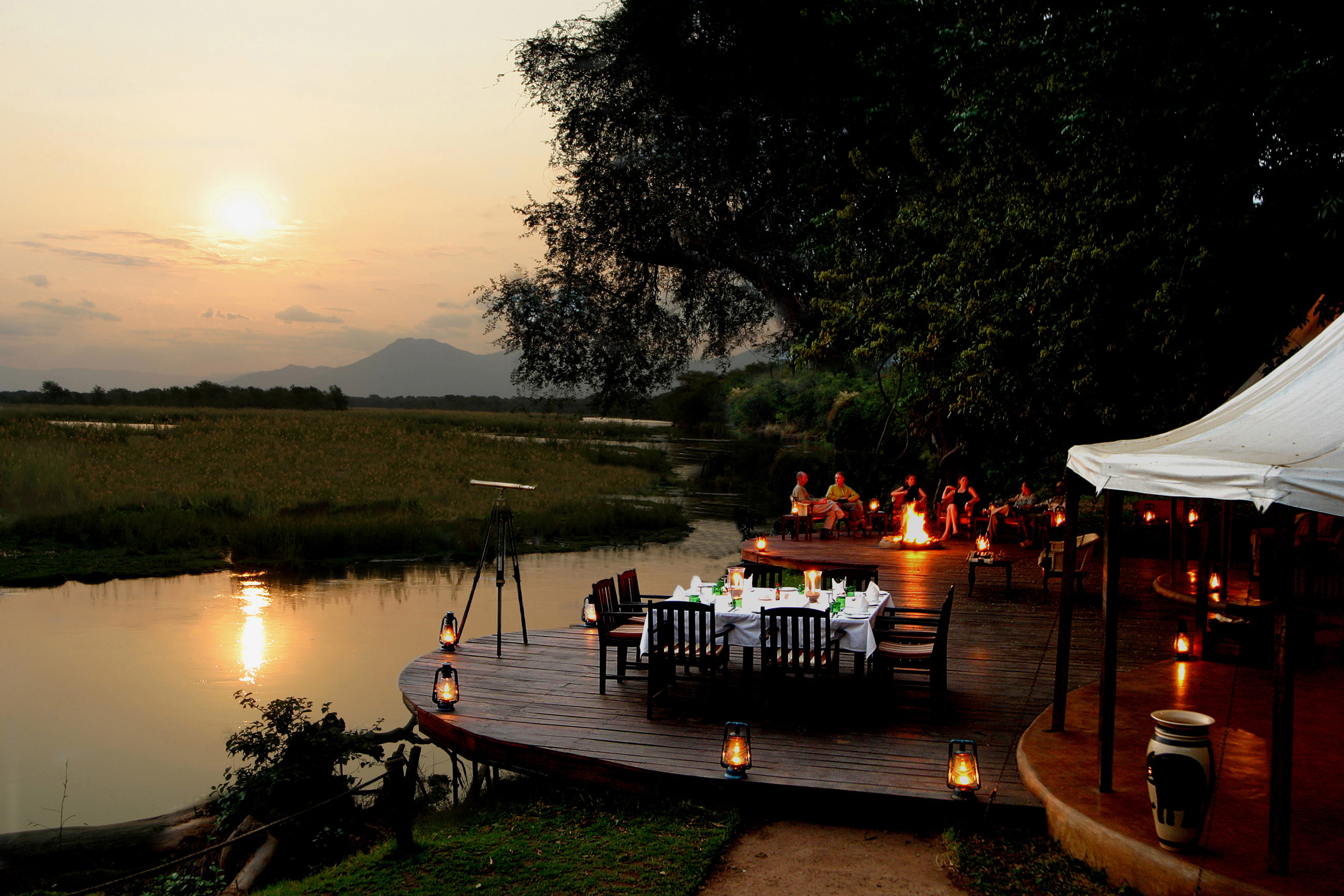 Sausage Tree Camp Zambia Game Dining Tent Sunset