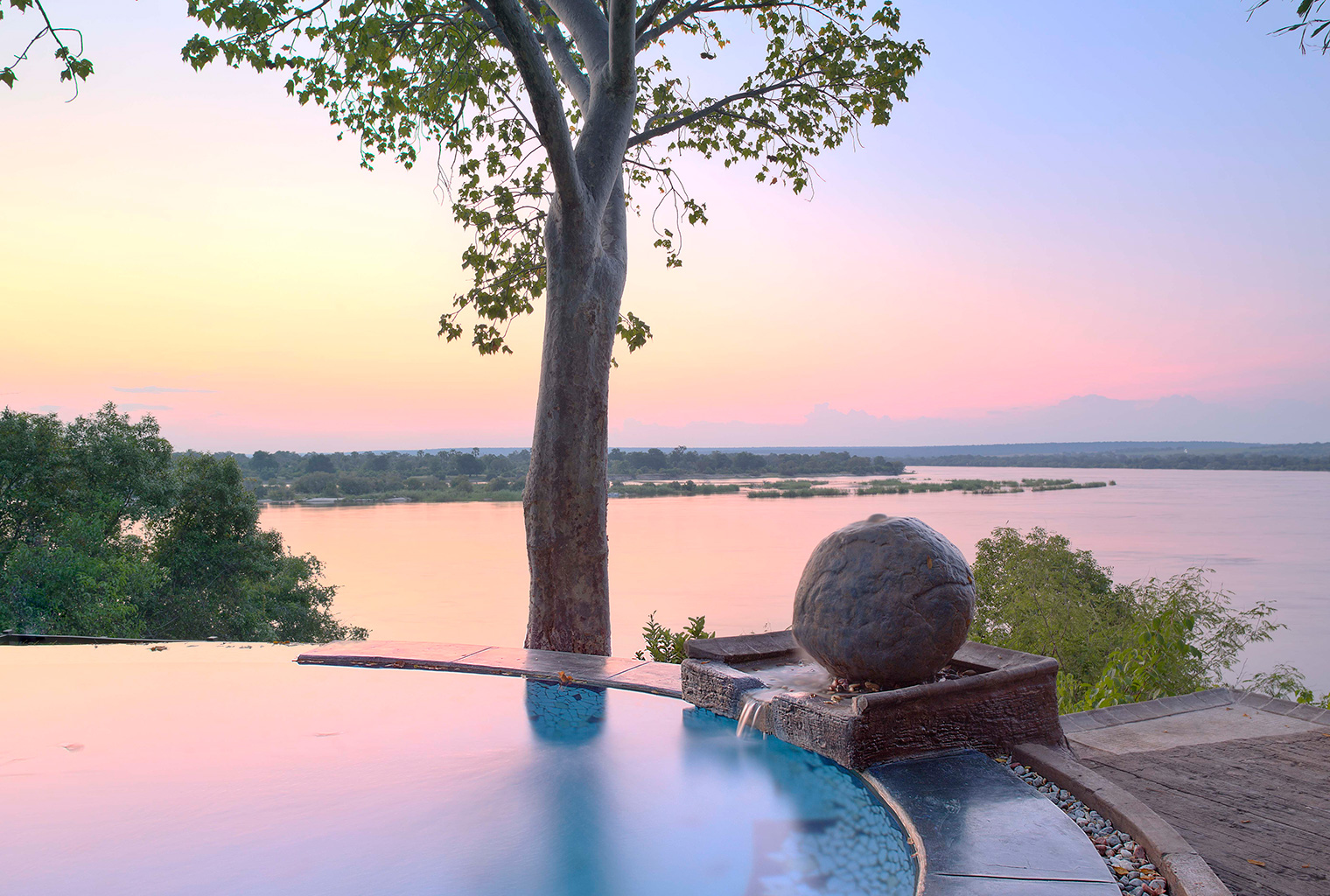 The-River-Club-Lodge-Zambia-pool sunset