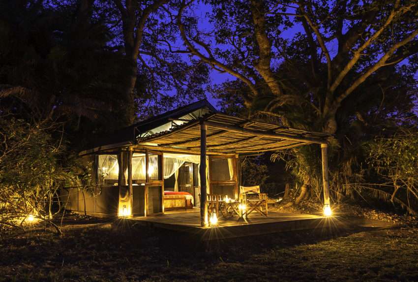 Zambia-Busanga-Bush-Camp-Exterior-Night