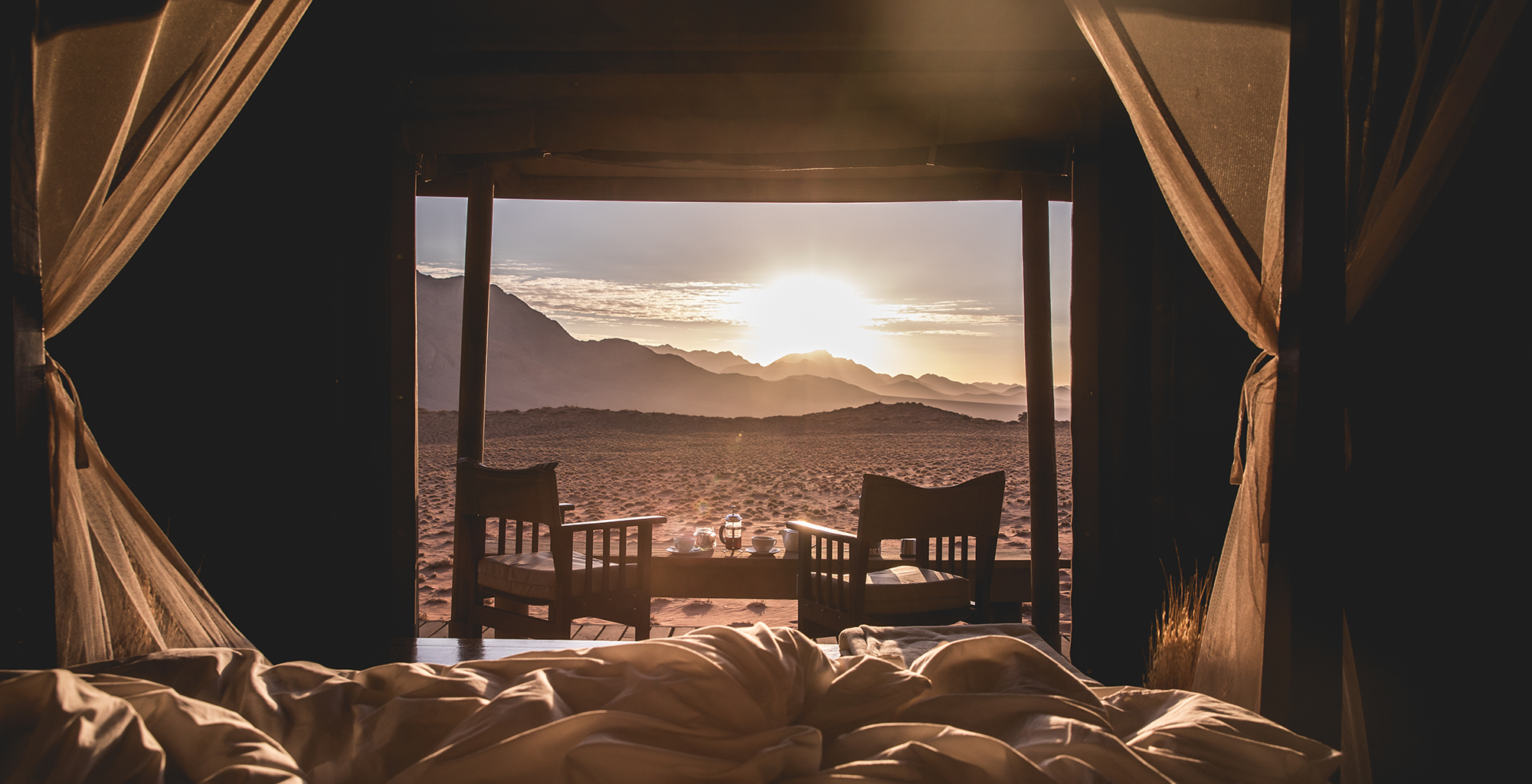 Namibia-Wolwedans-Dune-Camp-Bed-View
