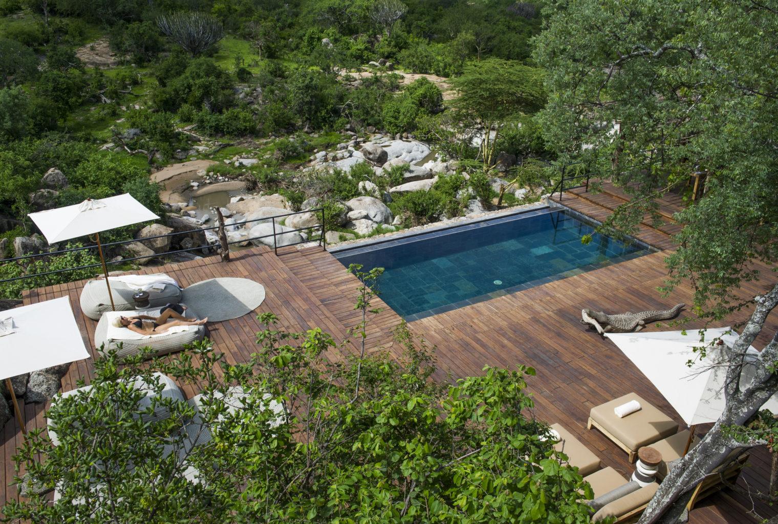 Mwiba Lodge Swimming Pool Aerial Shot