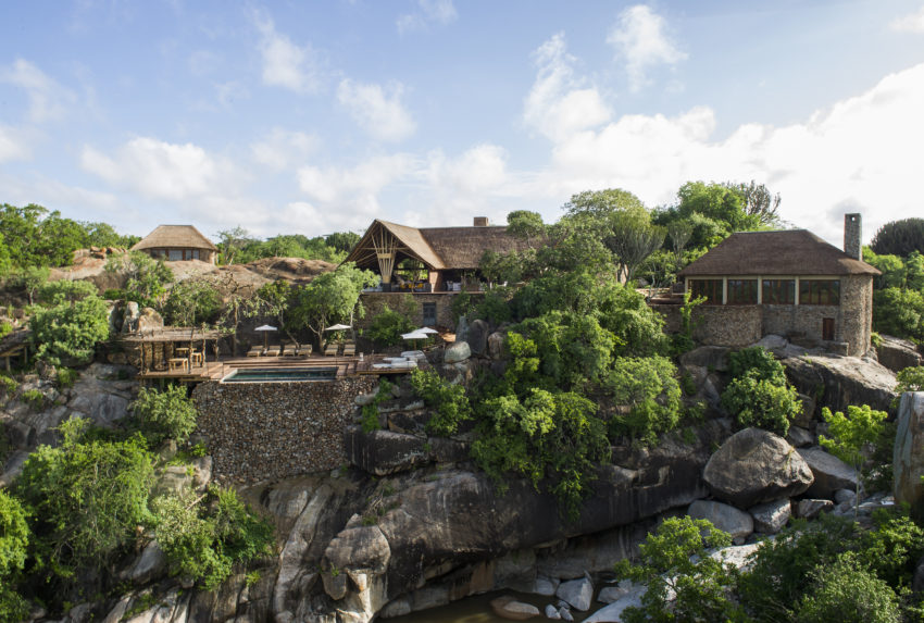 Side aerial view of Mwiba Lodge
