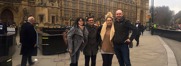 The Journeys by Design team outside the Houses of Parliment waiting for the ivory trade debate to begin