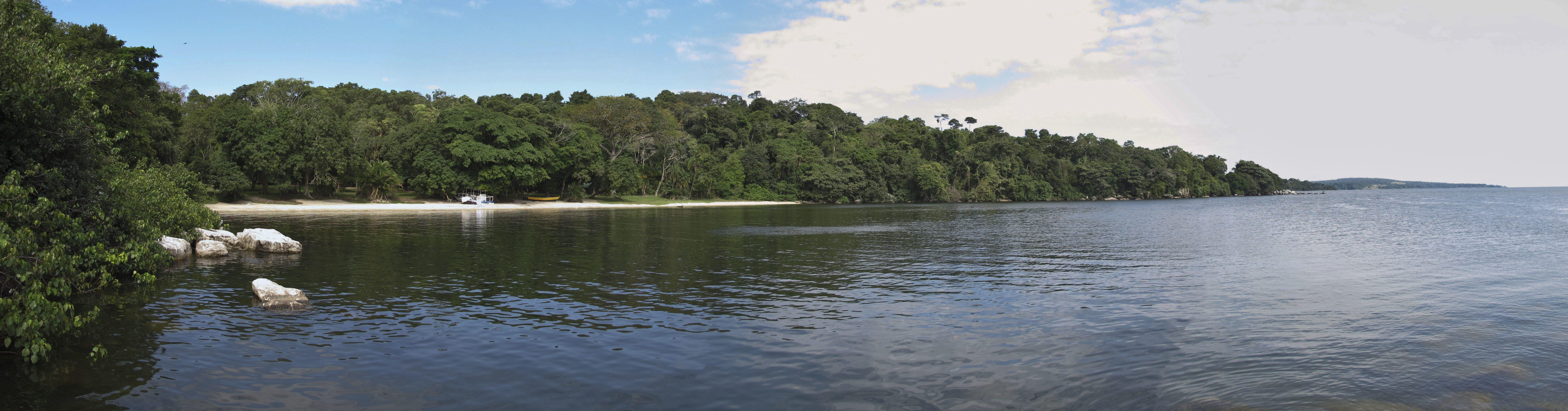 Rubondo-Island-camp-beach-forest-view
