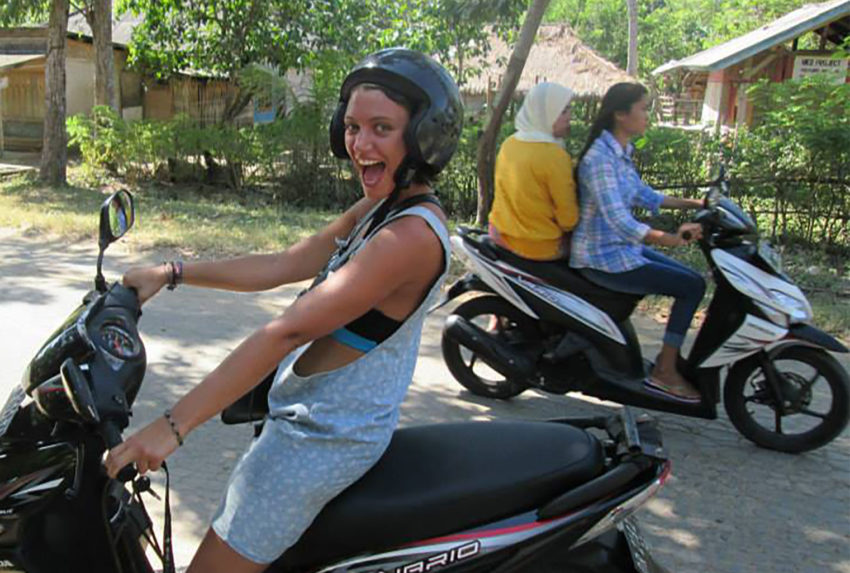 Jess-riding-a-moped-shortly-before-falling-off-again
