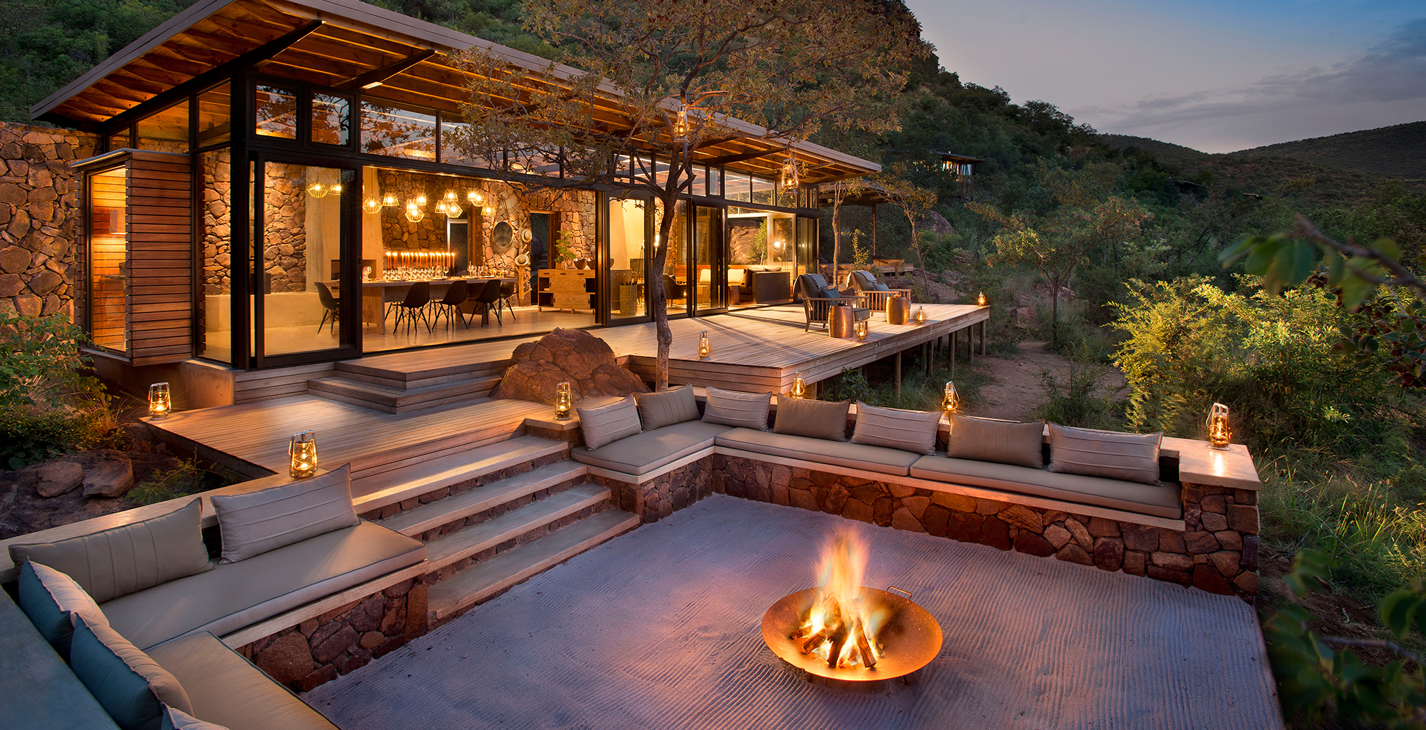 South-Africa-Marataba-Mountain-Lodge-Exterior-Fire