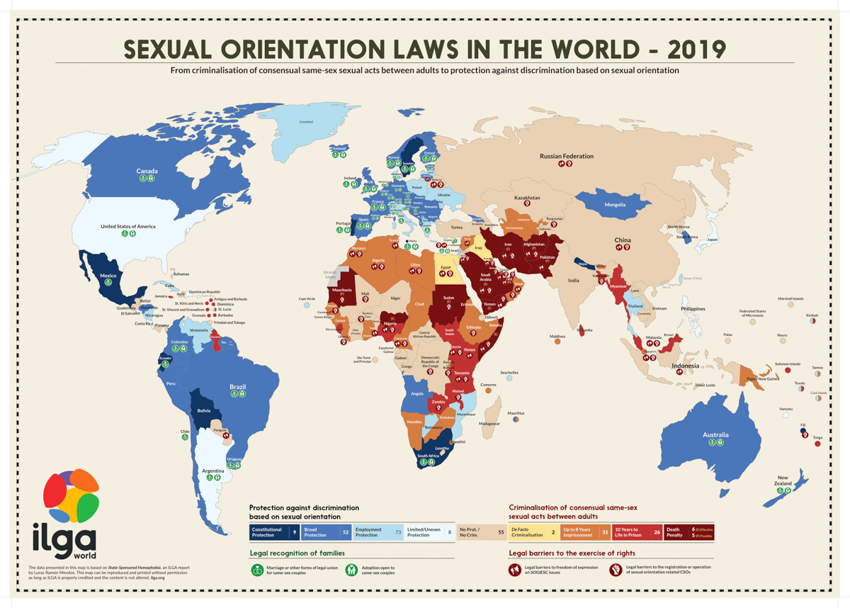 LGBTQ+ laws by country map